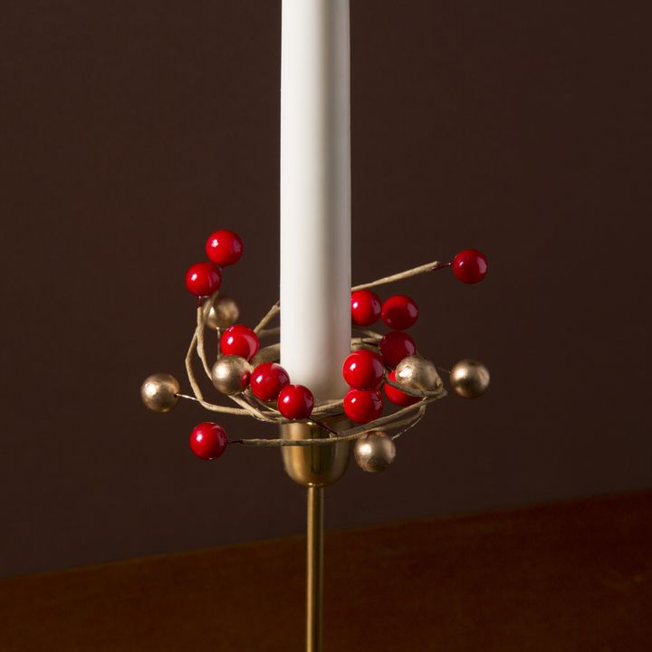 Holiday Berry Taper Candle Rings, Set of 4