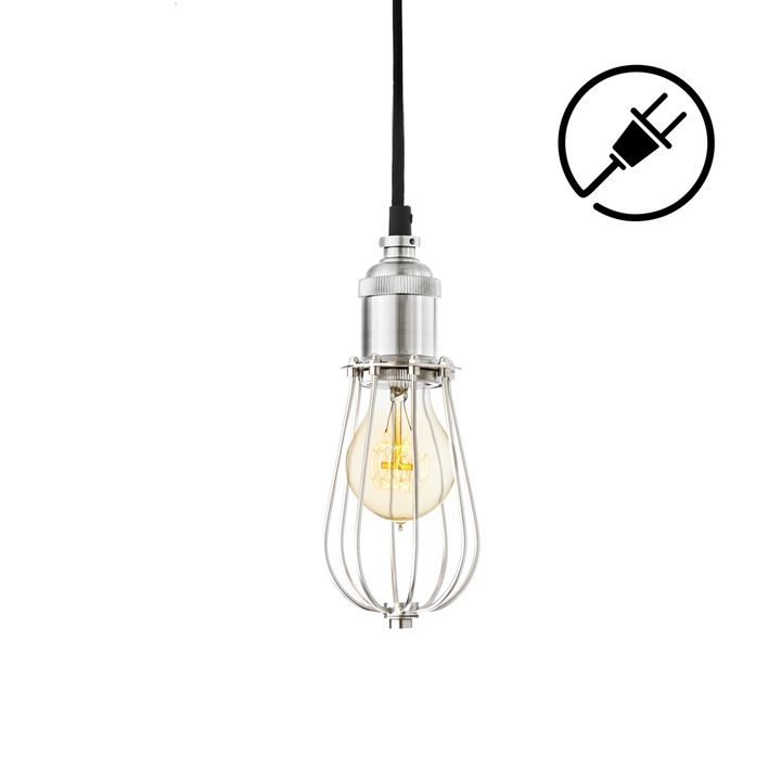 Alton Plug-In Pendant with Raindrop Cage, Satin Nickel