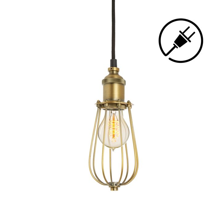 Alton Plug-In Pendant with Raindrop Cage, Aged Brass