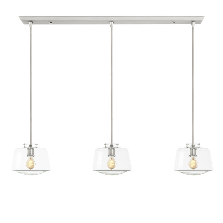 3-Light Rectangle Canopy with Alton Pendants, Schoolhouse Glass and Rod Sets, Satin Nickel