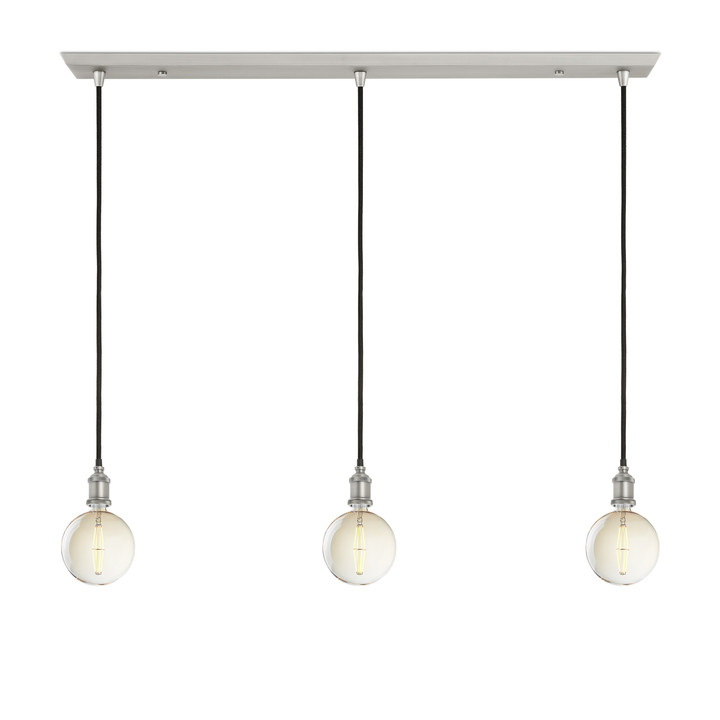 3-Light Rectangle Canopy with 3 Alton Pendants, Satin Nickel