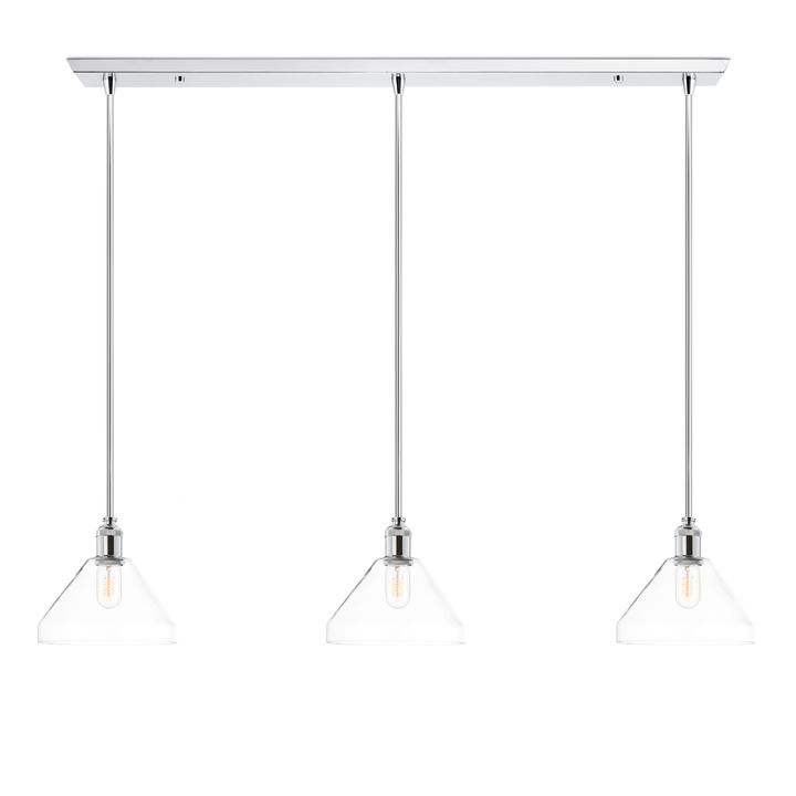 3-Light Rectangle Canopy with Alton Pendants, Tapered Glass and Rod Sets, Chrome