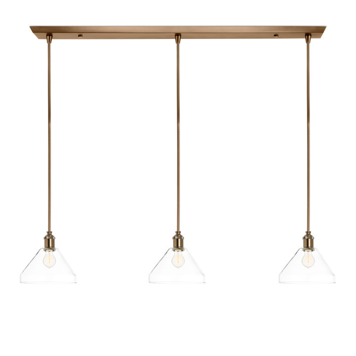 3-Light Rectangle Canopy with Alton Pendants, Tapered Glass and Rod Sets, Bronze