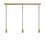 3-Light Rectangle Canopy with 3 Arlo Pendants, Aged Brass