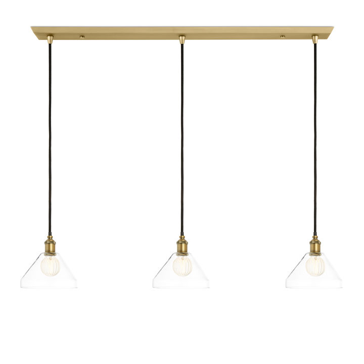 3-Light Rectangle Canopy with Alton Pendants and Tapered Glass, Aged Brass