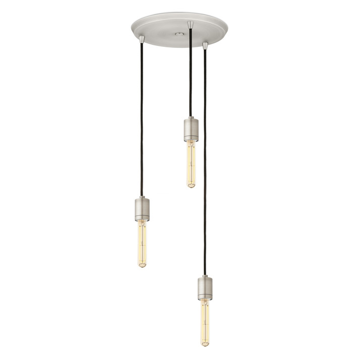 3-Light Round Canopy with 3 Arlo Pendants, Satin Nickel