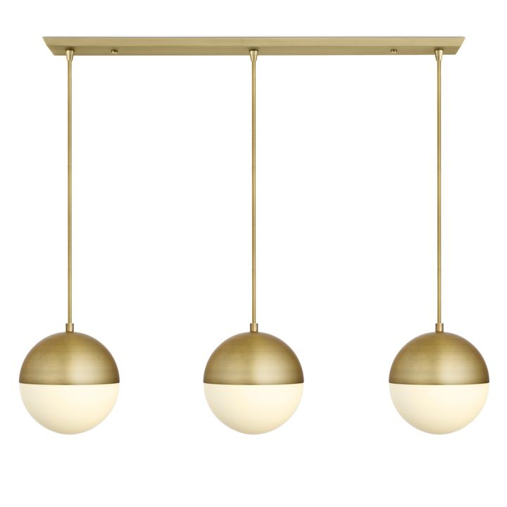 "3 Powell LED 10"" Globe Pendants and 3-Light Rectangle Canopy, Aged Brass"