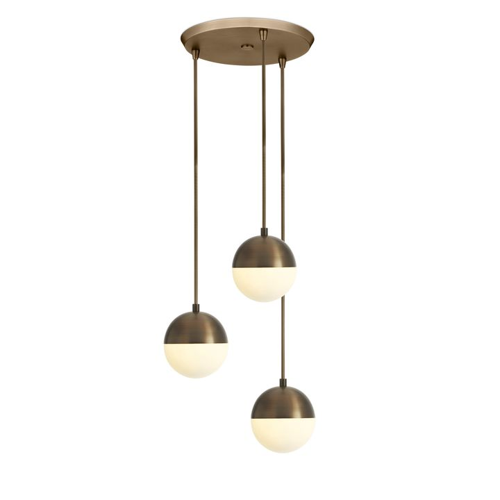 "3 Powell LED 7"" Globe Pendants and 3-Light Round Canopy, Bronze"
