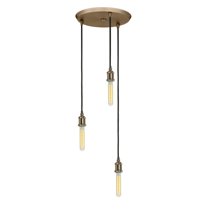 3-Light Round Canopy with 3 Alton Pendants, Bronze