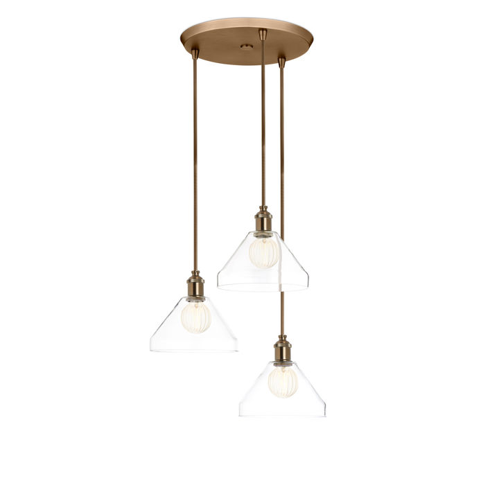 3-Light Round Canopy with Alton Pendants, Tapered Glass and Rod Sets, Bronze