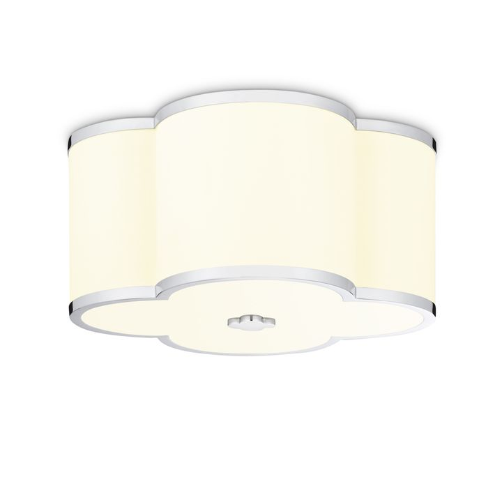 "Isla 14"" LED Fabric Shade Scalloped Flush Mount, Polished Nickel"