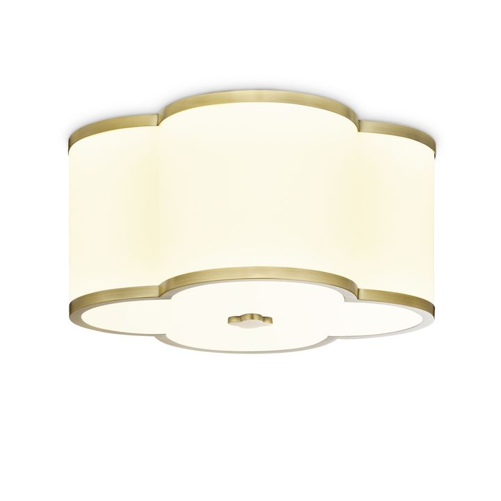 "Isla 14"" LED Fabric Shade Scalloped Flush Mount, Aged Brass"
