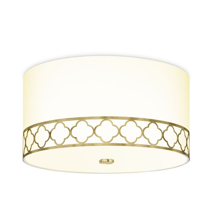 "Anja 18"" Fabric Drum Shade Flush Mount, Aged Brass"