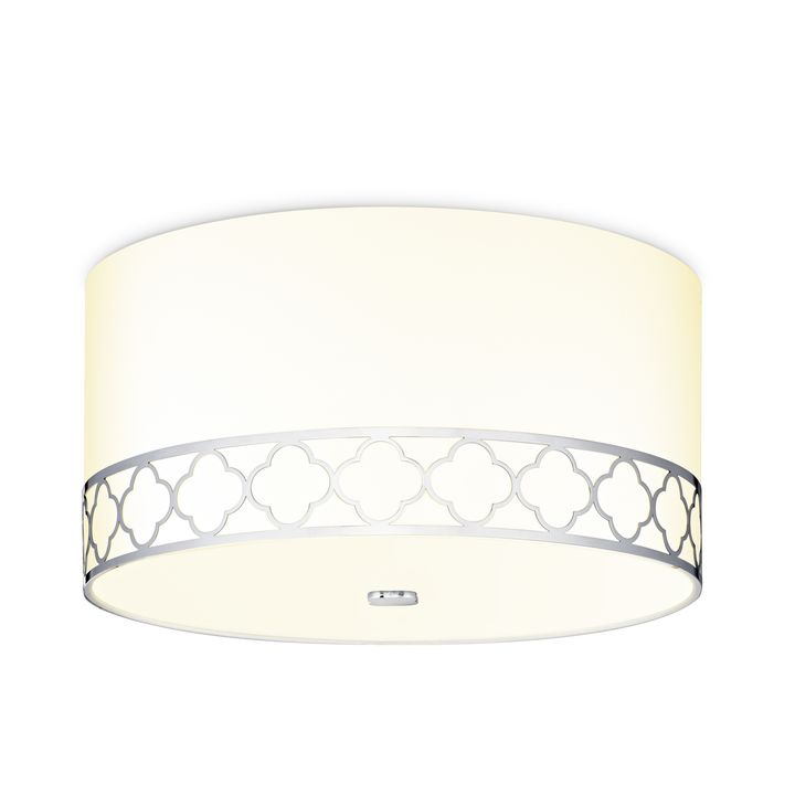"Anja 18"" Fabric Drum Shade Flush Mount, Polished Nickel"