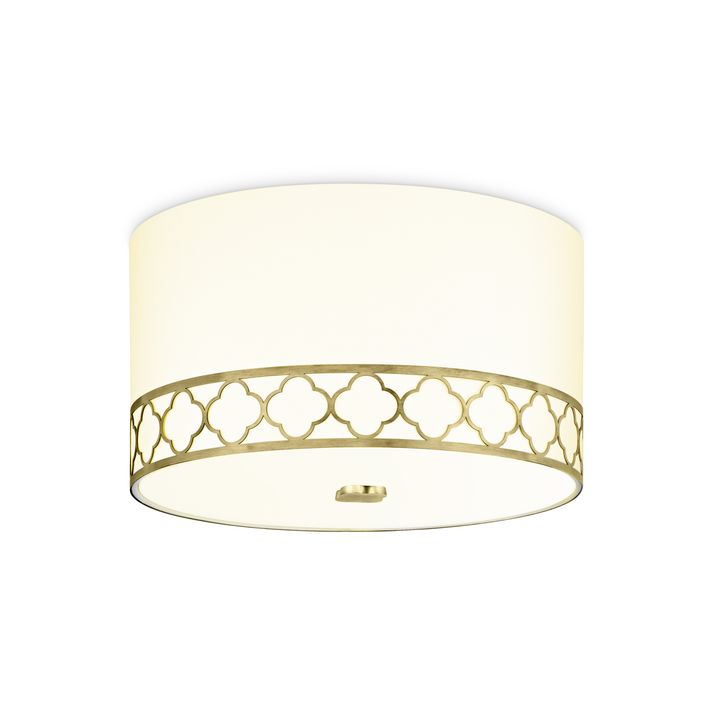 "Anja 14"" Fabric Drum Shade Flush Mount, Aged Brass"
