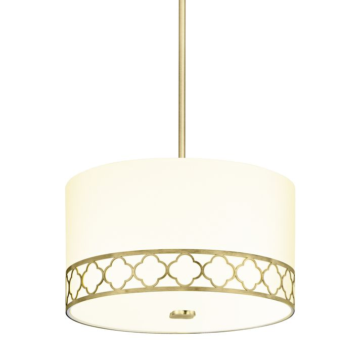 "Anja 14"" Fabric Drum Shade Pendant, Aged Brass"