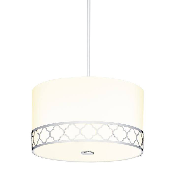 "Anja 14"" Fabric Drum Shade Pendant, Polished Nickel"