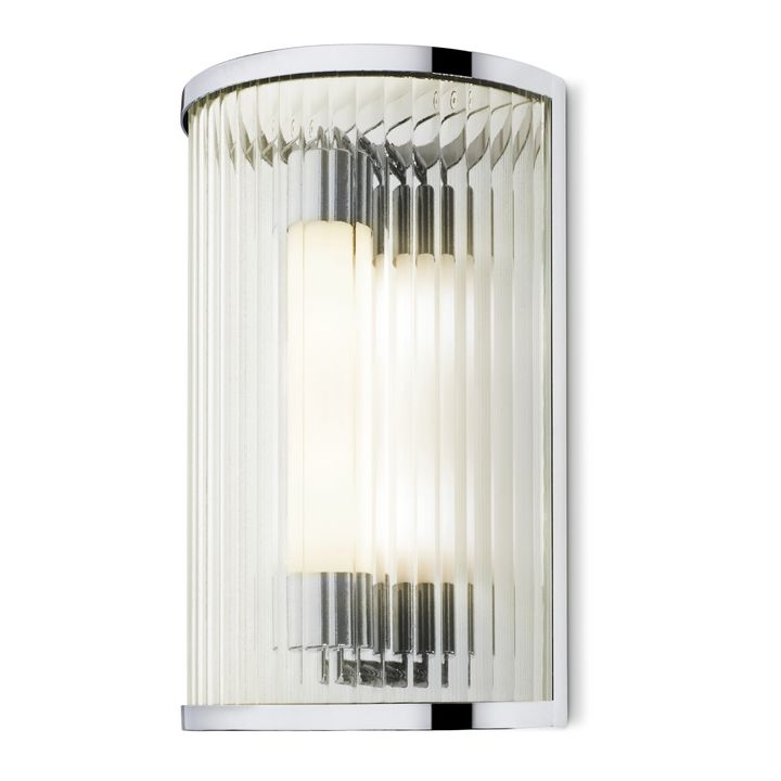 Harper LED Cylinder Glass Rod Wall Sconce, Polished Nickel