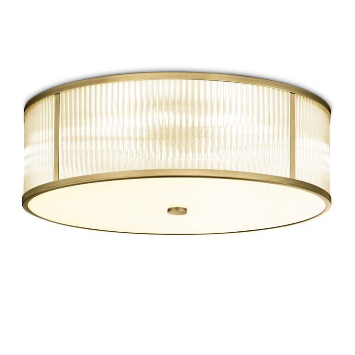 "Harper 24"" LED Round Glass Rod Flush Mount, Aged Brass"