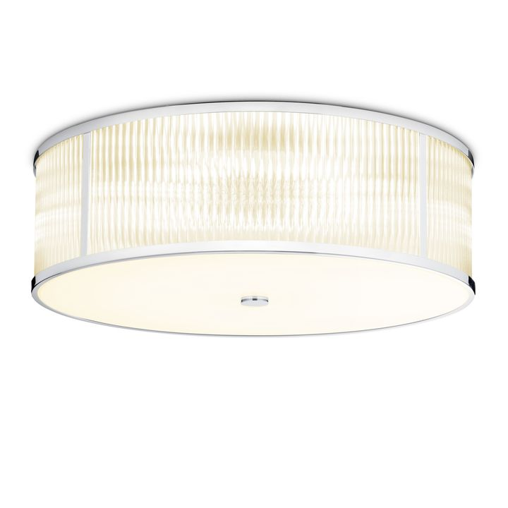 "Harper 24"" LED Round Glass Rod Flush Mount, Polished Nickel"