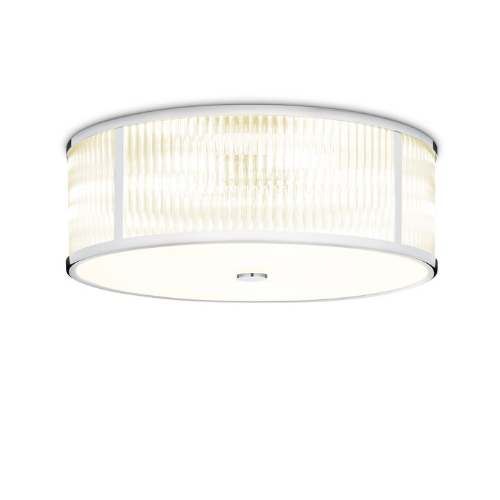 "Harper 18"" LED Round Glass Rod Flush Mount, Polished Nickel"