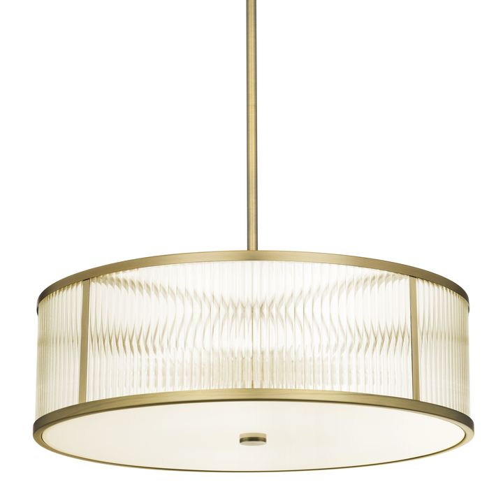 "Harper 24"" LED Glass Rod Pendant, Aged Brass"