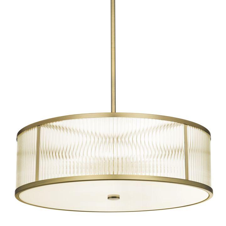"""Harper 24"""" LED Glass Rod Pendant, Aged Brass"""