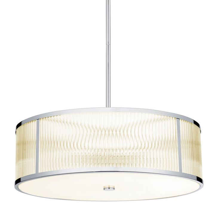 "Harper 24"" LED Glass Rod Pendant, Polished Nickel"