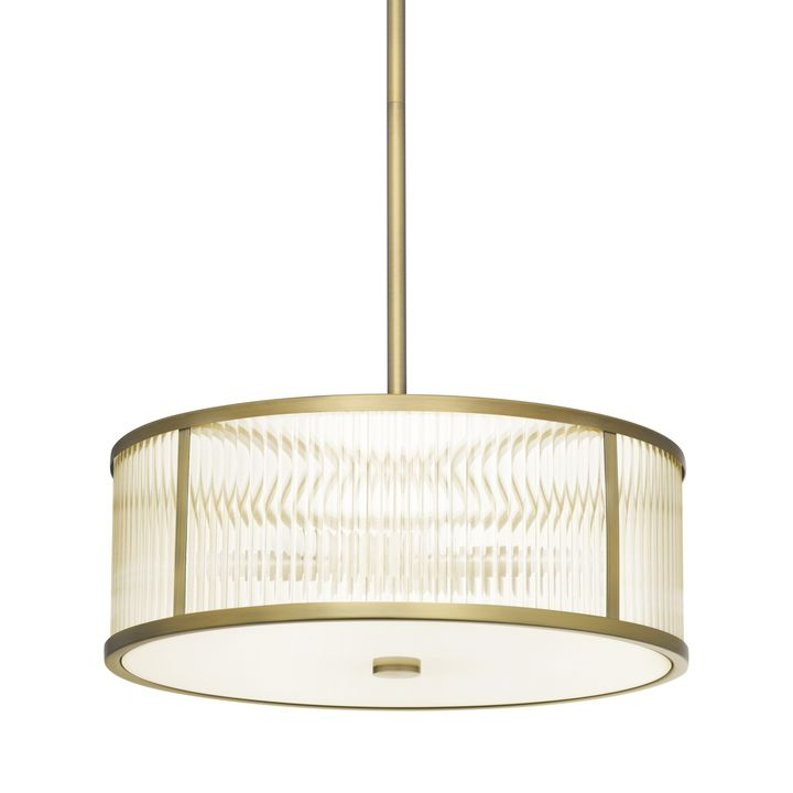 "Harper 18"" LED Glass Rod Pendant, Aged Brass"