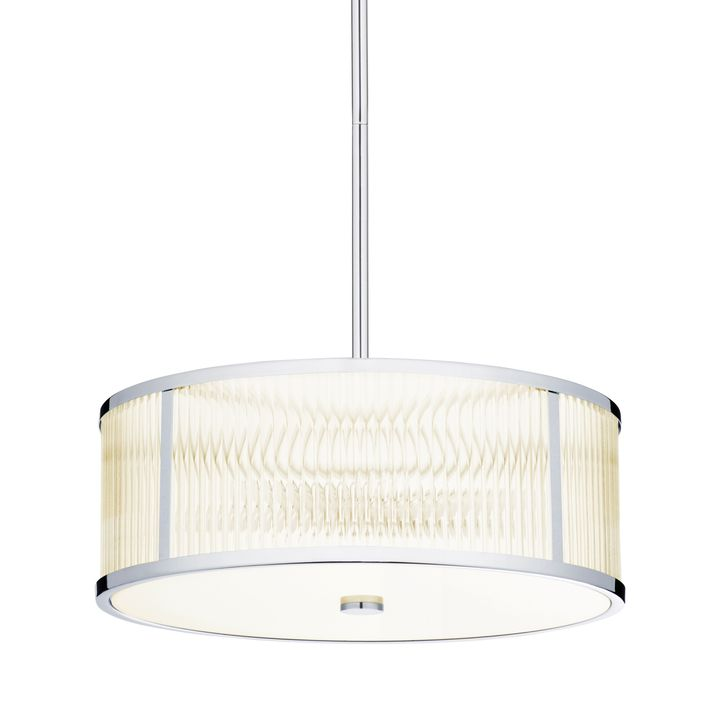 "Harper 18"" LED Glass Rod Pendant, Polished Nickel"