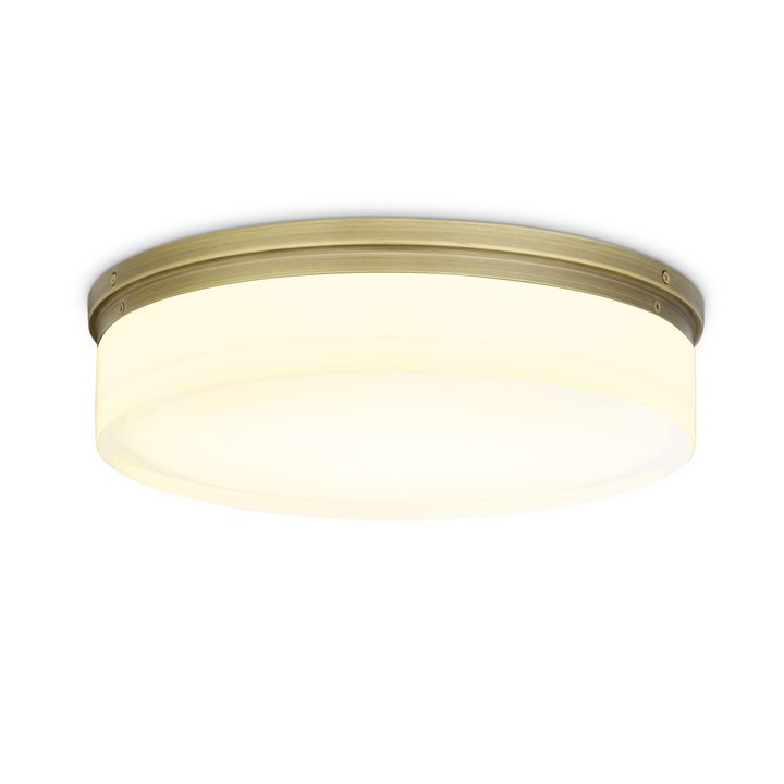 "Finn 14"" LED Round Glass Flush Mount, Aged Brass"
