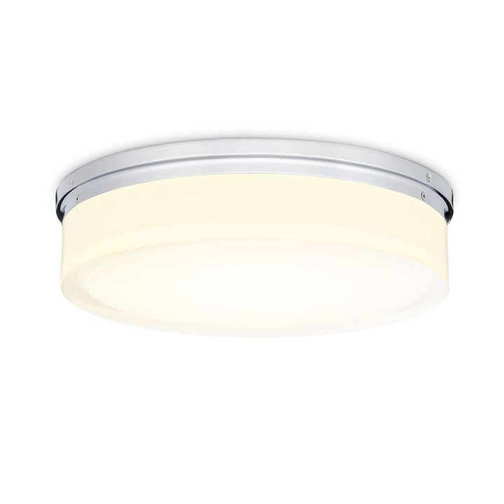 "Finn 14"" LED Round Glass Flush Mount, Polished Nickel"