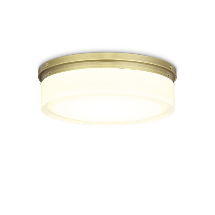 "Finn 11"" LED Round Glass Flush Mount, Aged Brass"