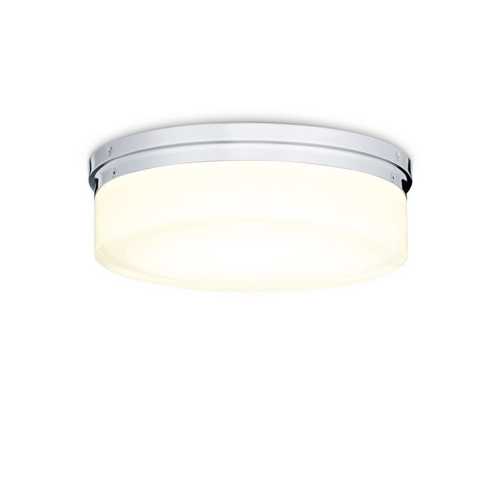 "Finn 11"" LED Round Glass Flush Mount, Polished Nickel"