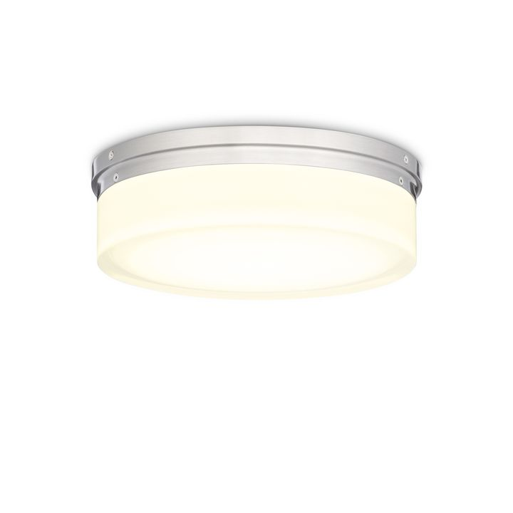 "Finn 11"" LED Round Glass Flush Mount, Satin Nickel"