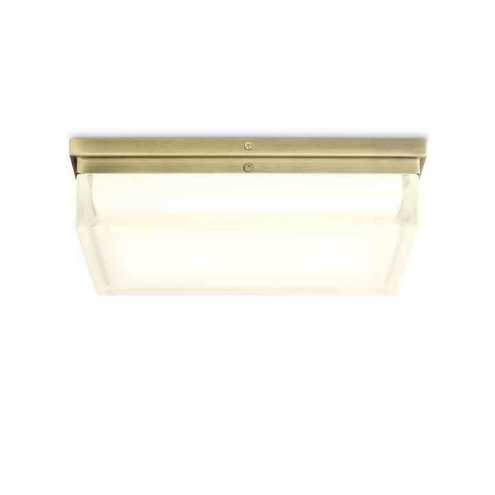 "Finn 12"" LED Square Glass Flush Mount, Aged Brass"