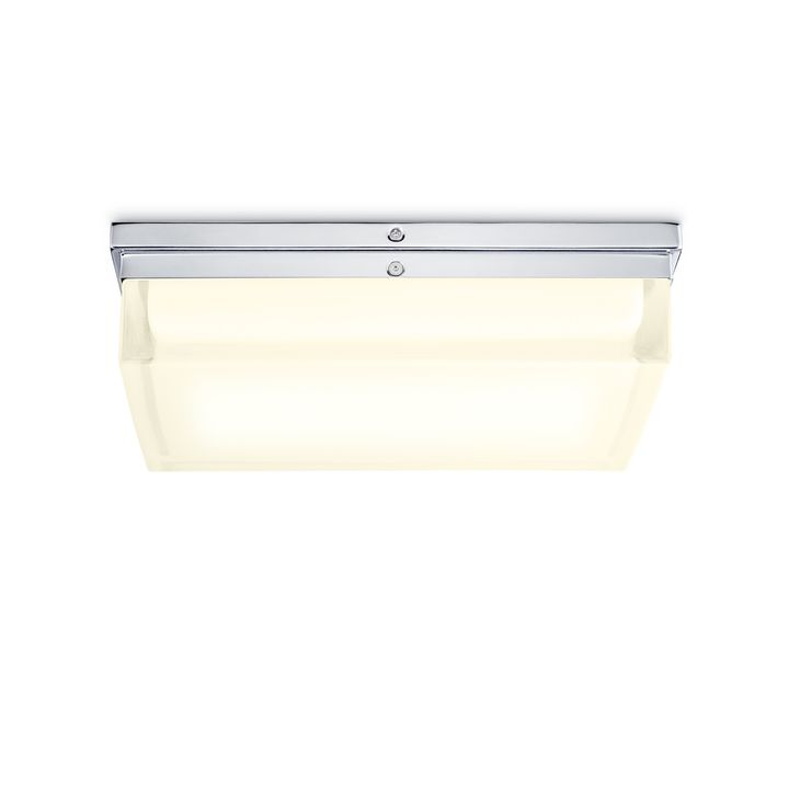 "Finn 12"" LED Square Glass Flush Mount, Polished Nickel"