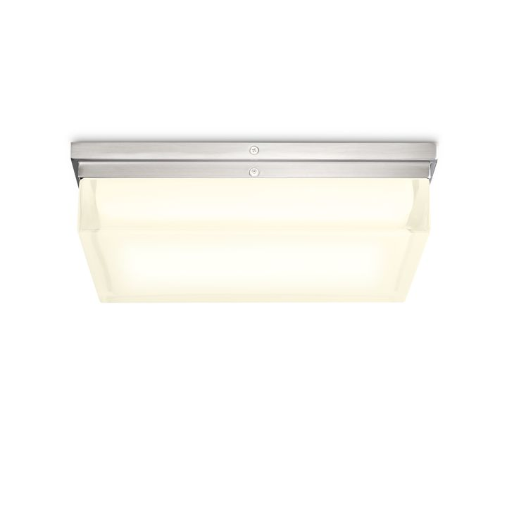 "Finn 12"" LED Square Glass Flush Mount, Satin Nickel"