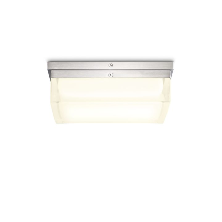 "Finn 9"" LED Square Glass Flush Mount, Satin Nickel"