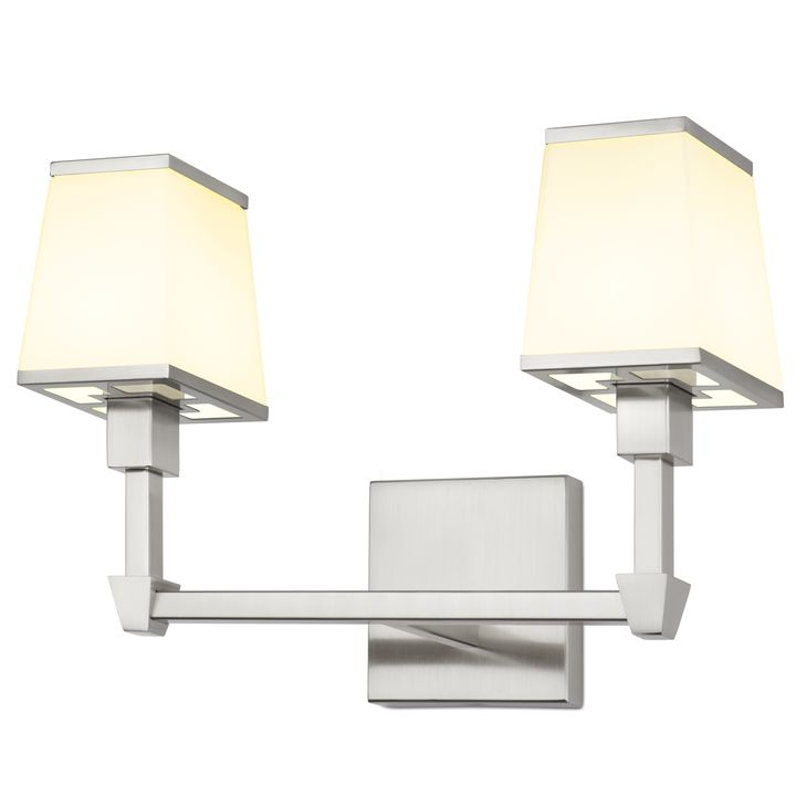 Kingston 2-Light Vanity with Opal Glass Shade, Satin Nickel