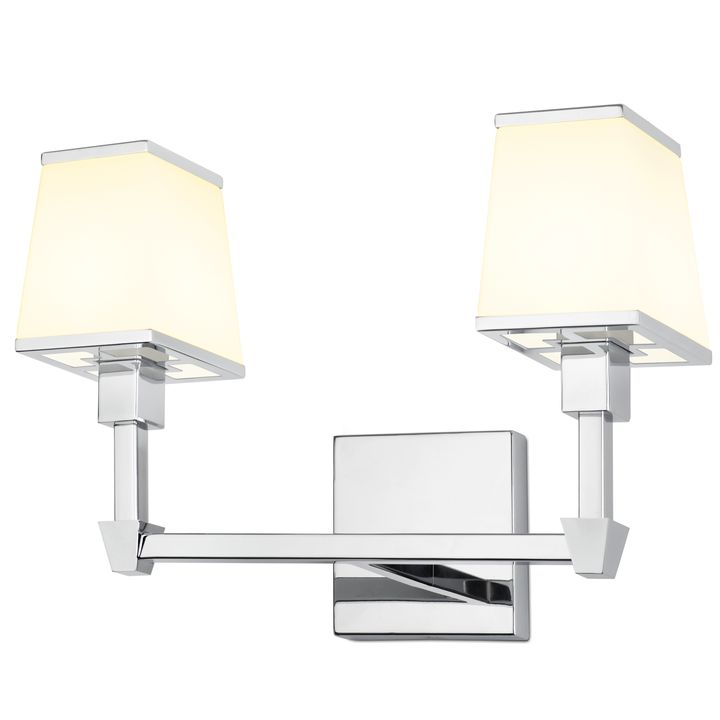 Kingston 2-Light Vanity with Opal Glass Shade, Polished Nickel