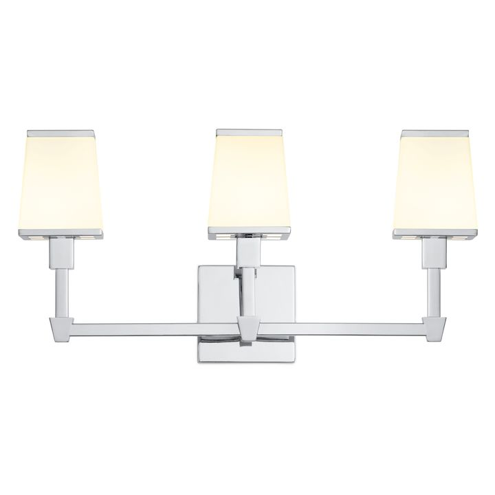 Kingston 3-Light Vanity with Opal Glass Shade, Polished Nickel