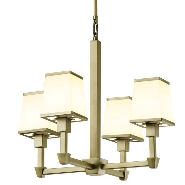 Kingston Mini 4-Light Chandelier with Opal Glass Shade, Aged Brass