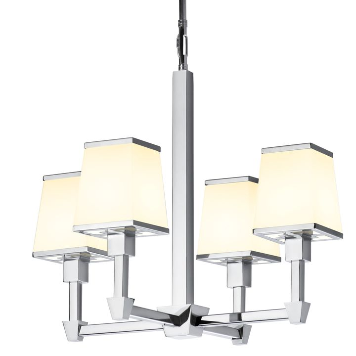 Kingston Mini 4-Light Chandelier with Opal Glass Shade, Polished Nickel