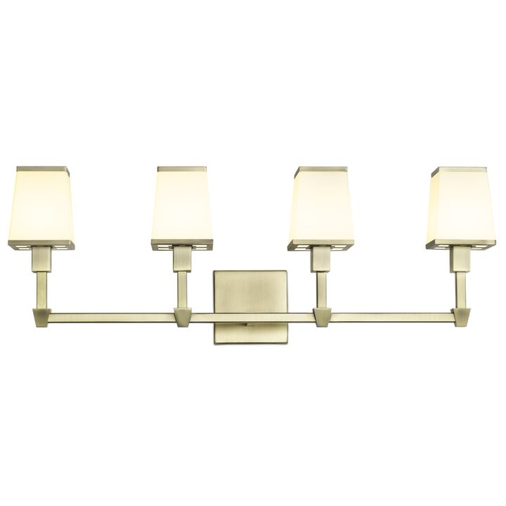 Kingston 4-Light Vanity with Opal Glass Shade, Aged Brass
