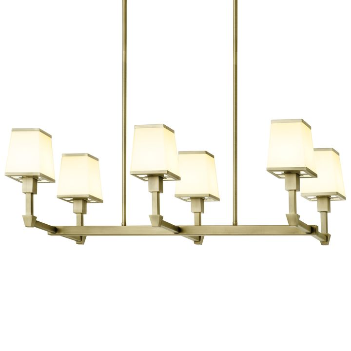 Kingston 6-Light Rectangle Chandelier with Opal Glass Shade, Aged Brass