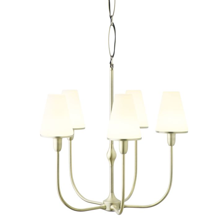 Arden 5-Light Chandelier with Tapered Opal Shade, Aged Brass