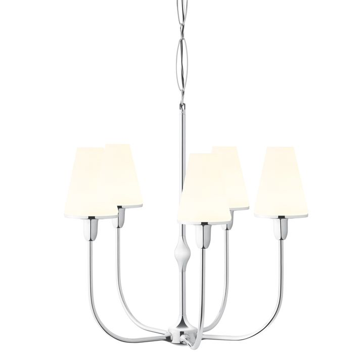 Arden 5-Light Chandelier with Tapered Opal Shade, Polished Nickel