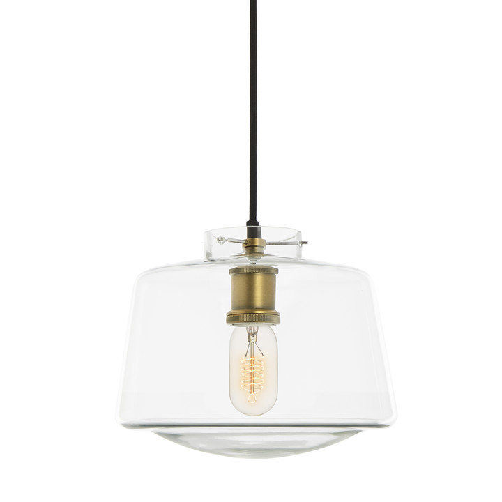 Alton Pendant with Schoolhouse Glass, Aged Brass