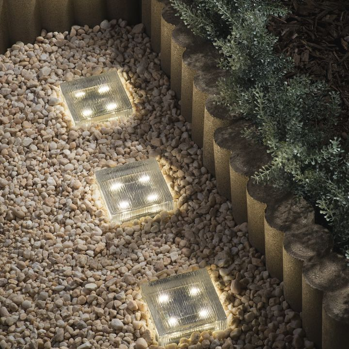 "Lined 4x4"" Solar Bright Light, Warm White"